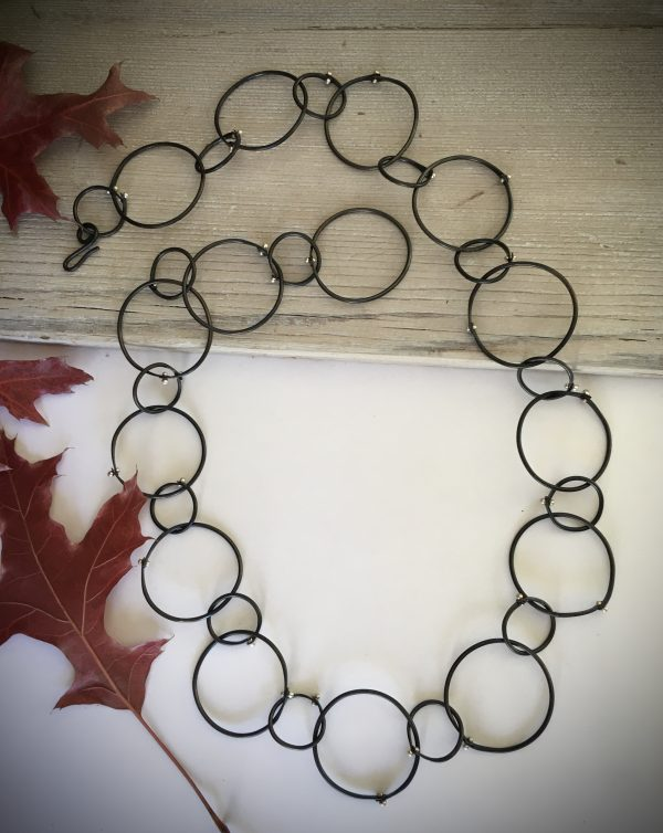 black circle statement necklace