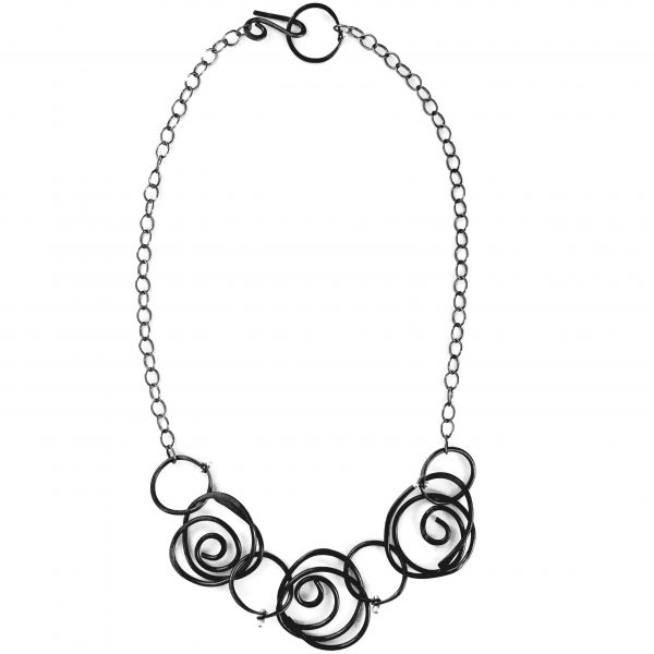 silver and black swirl necklace