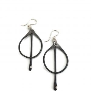Steel and Silver Drop Bar Earring